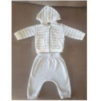 Conjunto fleece cinza com branco da KIABI. - 9 meses - Kiabi