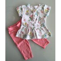 Conjunto camiseta peplum floral e calça - 3 meses - Carter`s