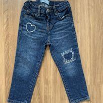 Calça jeans escuro skinny com bordado de coração - 3 anos - Baby Gap