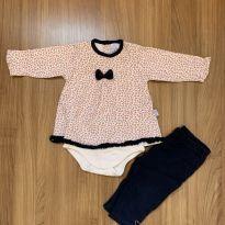 Conjunto de blusa liberty com body fixado e calça - 6 a 9 meses - Piu Piu