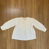 Bata manga longa off white com bordado ZARA BABY GIRL - 9 a 12 meses - Zara Baby
