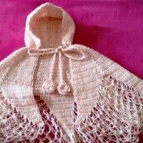 Poncho de crochê feito a mão - 1 ano - Feito à mão