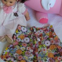 """Shortinho """"olha quanta florzinha mamãe!!"""" - 18 a 24 meses - Green"""
