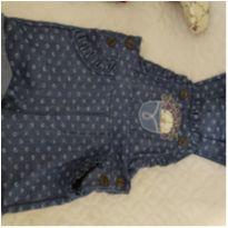 Macacão jeans + blusa - 6 a 9 meses - Miniclô