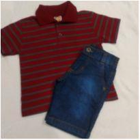 Bermuda Jeans e Polo Novo - 2 anos - Não informada