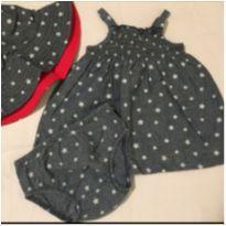 Conjunto vestidinho e chapeu Jeans - 3 meses - Carters - Sem etiqueta