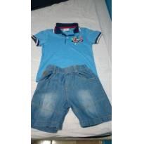 Conjunto  Camisa Pólo e Bermuda Jeans - 3 anos - Não informada