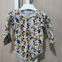 Body Manga Longa Mickey - 6 a 9 meses - Disney baby