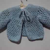 casaco de tricô azul bebê lindo + sapatinhos - 0 a 3 meses - Feito à mão