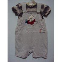 macacão estilo jardineira com camiseta - 6 a 9 meses - Aconchego do Bebê