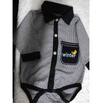 Body camisa social xadrez - 3 meses - Toys & Kids