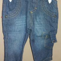 Calça Jeans bolso - 0 a 3 meses - Clube do Doce