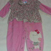 Macacão plush rosa e onça - 3 a 6 meses - Carinha baby
