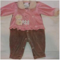 Macacão plush rosa e marrom ovelha - 6 a 9 meses - yoyo Baby