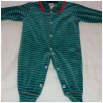 Macacão plush listrado verde - 0 a 3 meses - Ki Baby