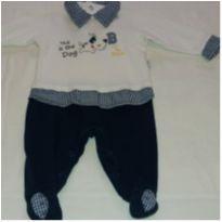 Macacão azul e branco cachorro - Recém Nascido - Anjos baby