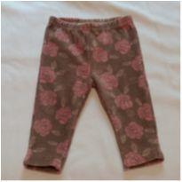 Calça veludo marrom/rosas - 0 a 3 meses - Tip Top