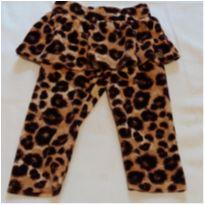 Calça com saia plush onça - 3 a 6 meses - Carinhoso