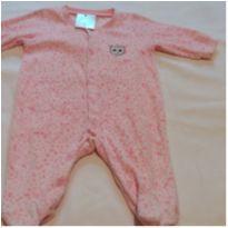 Macacão plush rosa onça - 3 a 6 meses - Baby Way