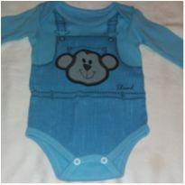 Body azul macaco - 6 a 9 meses - Tile e Sul
