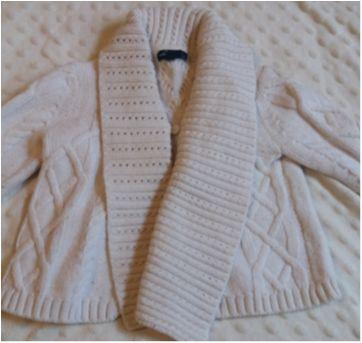 Casaco tricot off white Gap - 3 a 6 meses - Baby Gap