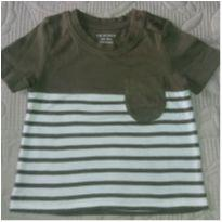 Camiseta listrada marrom e branca - 3 a 6 meses - Primark
