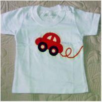 Camiseta branca carro - 3 a 6 meses - Tagarela