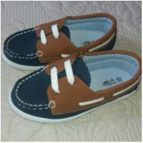 Sapato Dockside azul e bege - 25 - Poim