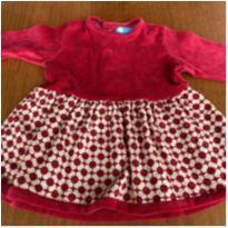 Vestido veludo vermelho - 6 meses - Os Quindins