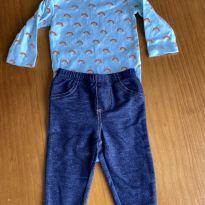 Conjunto body manga longa + jeans - 3 meses - Carter`s