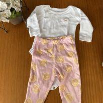 Conjunto body + calça de pezinho - 0 a 3 meses - 1+1