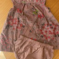 Vestido Veludo Gap Baby - 6 a 9 meses - Baby Gap