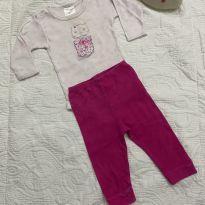 Conjuntinho lindo gatinha rosa - 3 a 6 meses - yoyo Baby