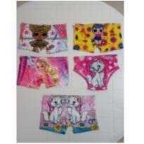 Kit com 5 calcinhas personagens, shortinhos meninas tam. 1-2 anos - novos - 1 ano - Sem marca