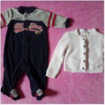Kit com Macacão em plush + Casaquinho branco Carter´s - bebê  3 meses - 3 meses - Carter`s