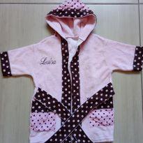 Roupão de banho bebê menina bordado nome Luísa - 3 meses - Sem marca