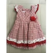 Vestido de festa xadrez - 9 a 12 meses - Anjos baby