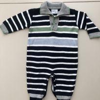 Macacão em tricô azul listrado - 6 meses - Noruega Baby