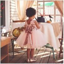 Vestido de festa rosa - 18 a 24 meses - Não informada