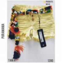 Shorts jeans amarelo com bandana , NOVO, Puramania - 4 anos - Puramania