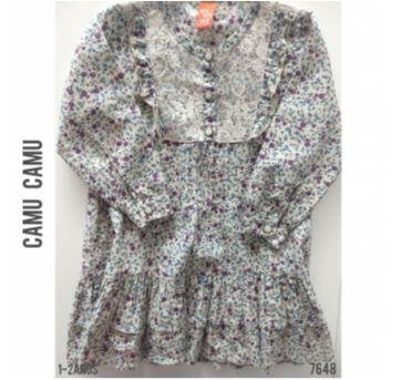 Vestido manga longa cinza florido Camú Camú - 18 a 24 meses - Camú Camú