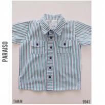Camisa social manga curta, listrada, Paraíso - 3 a 6 meses - Paraíso e Paraíso Moda Bebê
