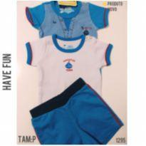 Conjunto bodies e shorts , NOVO - 3 a 6 meses - Have Fun e Beth bebê  e Have fun
