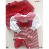 Conjunto em tricot de linha, opção para saída de maternidade - Recém Nascido - Sem marca