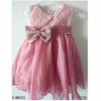 Vestido de festa rosa Envelhecido - 6 a 9 meses - WK Girls