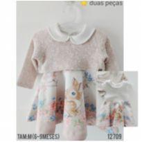 Conjunto vestido e blusa - 6 a 9 meses - Planeta pano