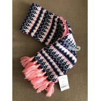 cachecol de lã com fios pratas forrado com fleece carter`s -  - Carter`s