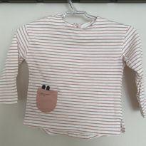 Camiseta manga longa Zara listrada - 6 a 9 meses - Zara