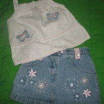 Conjunto Regata + saia jeans - 2 anos - Nannette Baby - USA