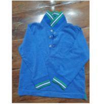 Camiseta azul com detalhes em verde e branco na gola e punhos!! - 9 a 12 meses - Chicco